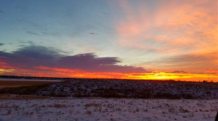 sunrise colorful snow