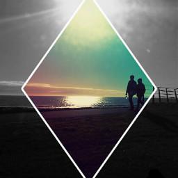 beach sunset couple walkonthebeach freetoedit