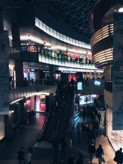 shopping mall lights night warsaw freetoedit