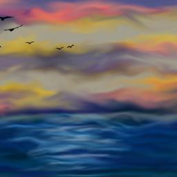digitalart lessismore sunset colorful sea
