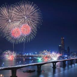 bridge nightview light sparklers sky