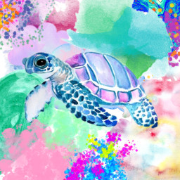 freetoedit turtle watercolorstickers